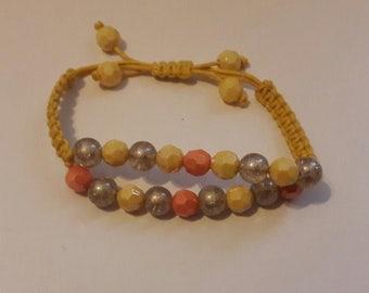 Adjustable Women's jewelry, Macrame bracelet, yellow macrame bracelet, yellow bead bracelet, yellow multicolor bracelet.