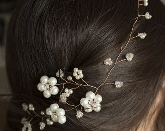 bridal headpiece with pearl and crystal, Bridal Hair Vine