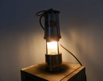 Original Vintage Miners Lamp. Steel and Brass. Table or Hanging Lamp
