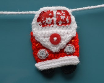 Crochet Camper Van Bunting - Red and Blue