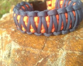 Orange and blue double paracord bracelet