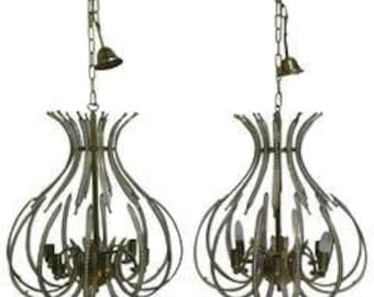 Pair brass and crystal chandeliers