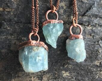 Aquamarine crystal necklace / Raw aquamarine necklace / March birthstone necklace / Aquamarine necklace / Copper / Gift for her / Aquamarine