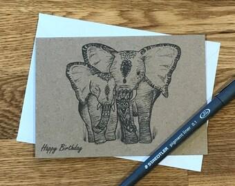 Birthday card   Elephant and baby card   Birthday elephant card