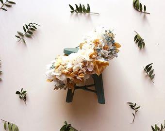 Maxi diadema de flores preservadas en tonos neutros EMMA // Naturally preserved maxi flower headpiece