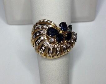 Estate 18K Yellow Gold 1.5 CTW Diamond & Blue Sapphire Ring 10 Grams Size 7