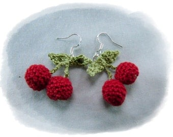 Sweet crochet earrings Mini Cherry Rockabilly