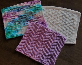 100% cotton knitted handmade dishcloths, kitchen, bathroom, cleaning, hostess gifts, wedding shower, Purple Blue White