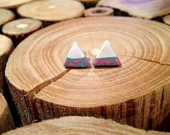 Blue and pink tye dye triangle polymer clay nickle free stud earrings