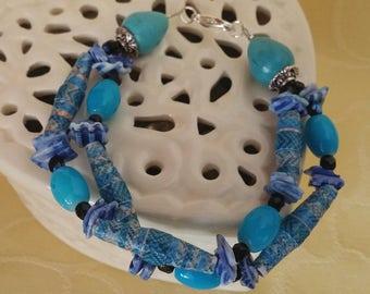Blue Ocean - bracelet with paper beads