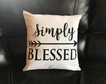 Simply Blessed Pillow Decorative Throw Pillow Home Decor Arrow Pillow Housewarming Gift