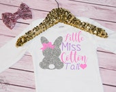 Baby Girl's Little Miss Cotton Tail Easter Onesie , Bodysuit, Easter Outfit, Headband, Happy Easter, Bow, Bunny, Lavender, Pink, Silver