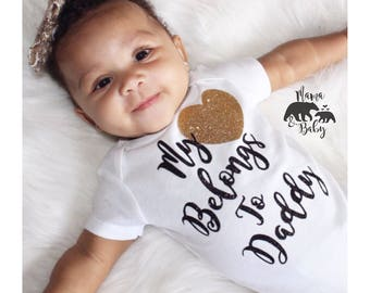 Baby Girl's Father's Day Onesie, Fathers Day Onesie, My Heart Belongs To Daddy, Daddy Has My Heart Onesie, Father's Day Gift, Daddy Onesie