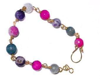 Pink and Purple Amethyst 14K Gold filled wire wrapped Bracelet