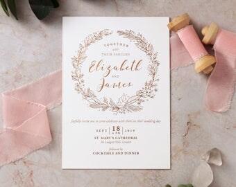 Charming Garland Wedding Invitation – Foil Stamping, White - IWF16064-GW-RG