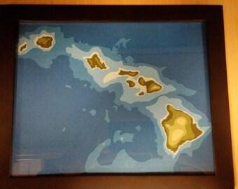 Handmade Hawaii topographic map. Coarse paper. Framed.