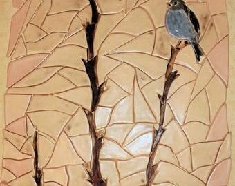 Handmade mosaic with birds