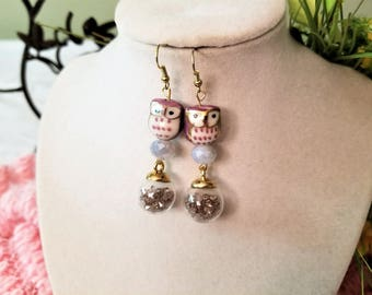 Gold Tone Purple Owl Earrings with Glass Vial Dangles, Gemstone Hook Dangle and Drop Silver Jewelry