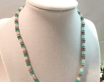 3 Tone Glass Beaded Necklace