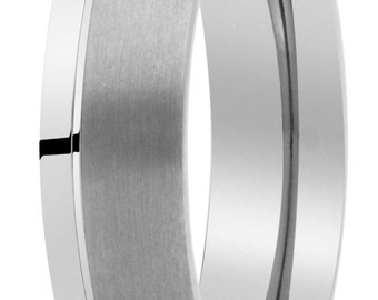 made of pure titanium brillo-mate wedding ring