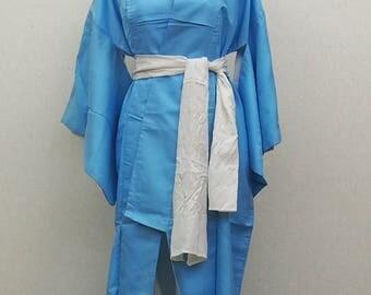 Blue summer kimono robe / Reef puttern