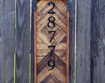 Rustic Planter Address Sign- House Number Sign- Reclaimed Wood Art- Recycled Wood-