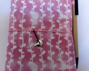 Small notebook cover. Fabric with pink background