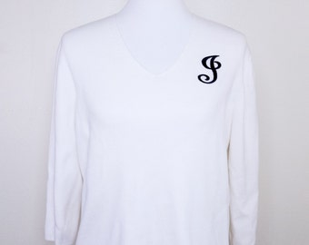 "Vintage Women's Hampshire Studio ""J"" Monogram Ivory and Black Sweater Sz L?V-Neck"