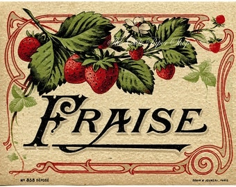 Vintage Alcohol Liquor Label French Fraise Liqueur