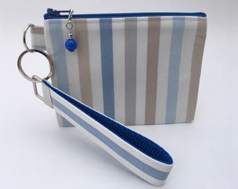 Gift card pouch, Blue charm, Wristlet, Detachable key fob, Key fob gift set, Coin pouch, Blue white cotton, Jewellery case, Cosmetic case
