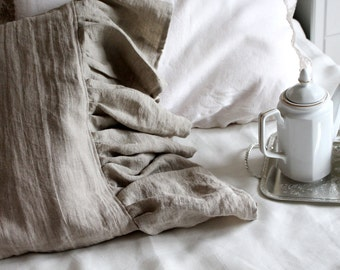 Set of 2 flax linen ruffled shams-14 colors-linen pillowcases-linen pillow covers- Ruffled pillow covers-Available sizes #Lazy Sunday#