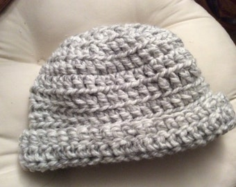 Hand crocheted grey and white beanie hat
