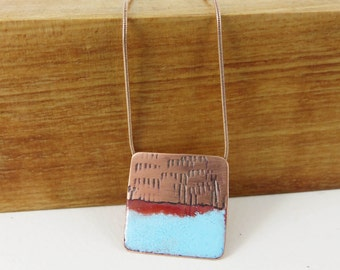 Square textured copper and enamel necklace pendant
