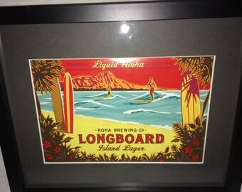 "Beer Signs, Bar, Kona Brewing Longboard Lager, Man Cave, Garage, Kitchen, Advertising, Art Framed 9""X11"""