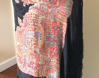 Antique Silk Piano Shawl Wrap