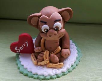 Fondant 'Sorry' monkey topper