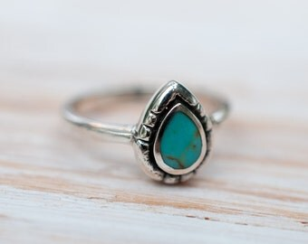 Turquoise Ring ~ Sterling Silver 925 ~ Handmade ~ Everyday ~Statement ~Stackable ~Tear Drop ~Gift for her ~Boho ~ Hippie ~Bohemian MR004