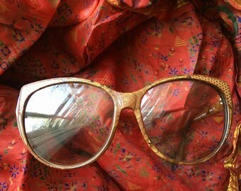 Sparkly Reptile Marbled 1980's Vintage Frames Glasses by Charles Jourdan