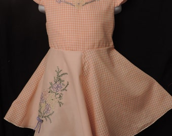 Girl's dress - peach HAND EMBROIDERED easter