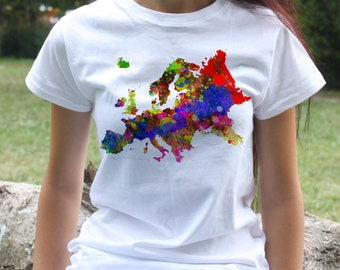 Europe T-shirt - Colorful Map Tee - Fashion women's apparel - Colorful printed tee - Gift Idea