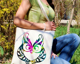 Wisdom tote bag -  Owl shoulder bag - Fashion canvas bag - Colorful printed market bag - Gift Idea
