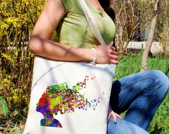 Music tote bag - Hairstyle shoulder bag - Fashion canvas bag - Colorful printed market bag - Gift Idea