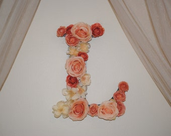 Floral Block Letter, Initial, Nursery Decor, Personalized, Girls Decor