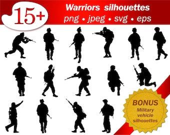 Warrior soldier army clip art military silhouette people svg png cameo cricut scrapbooking military vehicle free silhouette vector editable