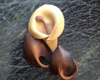 Leather Calla Lily Pin