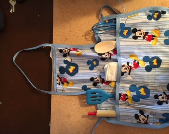 Mickey Mouse kid toddler aprons with kitchen utensils