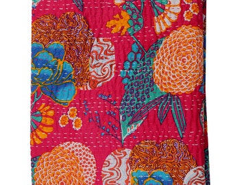 Sangrahan Handmade Indian Quilt Vintage Tropican fruit print Kantha spread Throw Cotton Blanket Twin Gudri Quilt-2965