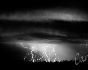 Lightning Strikes / landscape black and white photograph, fine art, wall art print, landscape photo, b&w photography, nature wall decor