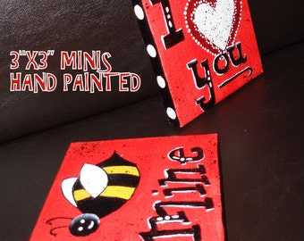 hand painted BEE MINE mini Valentine Canvases