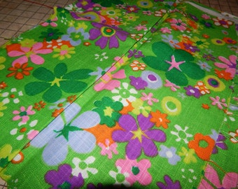 Vintage 'Linen-like' Fabric - Hot Green with Bright Flowers
